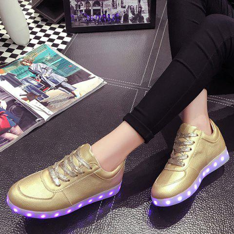 Online Led Luminous Metallic Color Athletic Shoes - 37 GOLDEN Mobile
