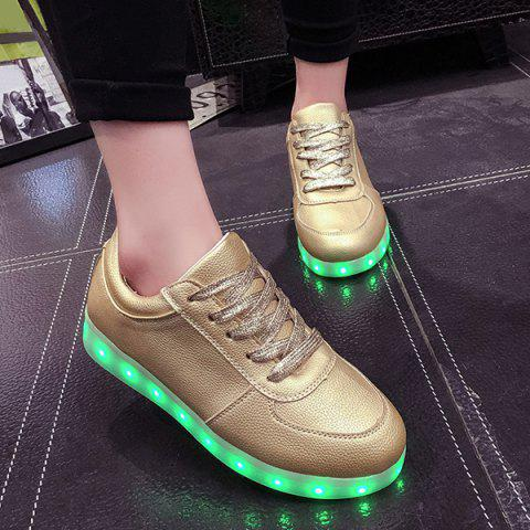 Shop Led Luminous Metallic Color Athletic Shoes - 40 GOLDEN Mobile