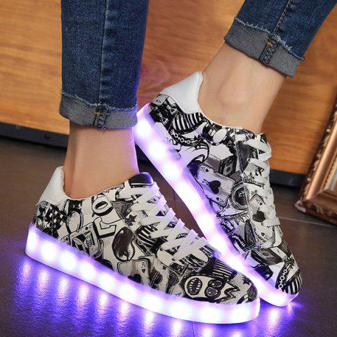 Colour Block Led Luminous Athletic Shoes - Black - 39