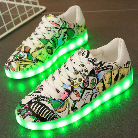 Outfits Colour Block Led Luminous Athletic Shoes - 39 GREEN Mobile