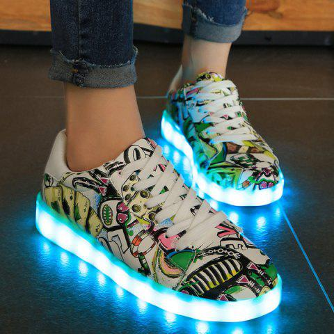 Colour Block Led Luminous Athletic Shoes - Green - 39