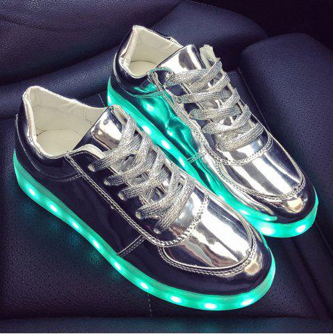 Hot Patent Leather Led Luminous Athletic Shoes - 39 SILVER Mobile