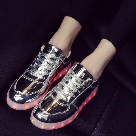 Fancy Patent Leather Led Luminous Athletic Shoes - 40 SILVER Mobile
