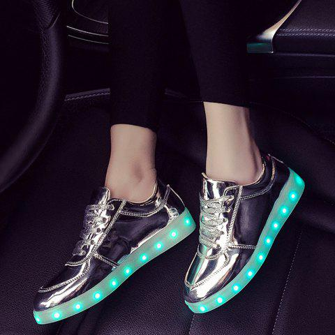 Affordable Patent Leather Led Luminous Athletic Shoes - 40 SILVER Mobile