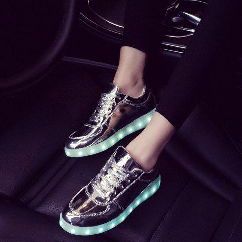 Latest Patent Leather Led Luminous Athletic Shoes - 40 SILVER Mobile