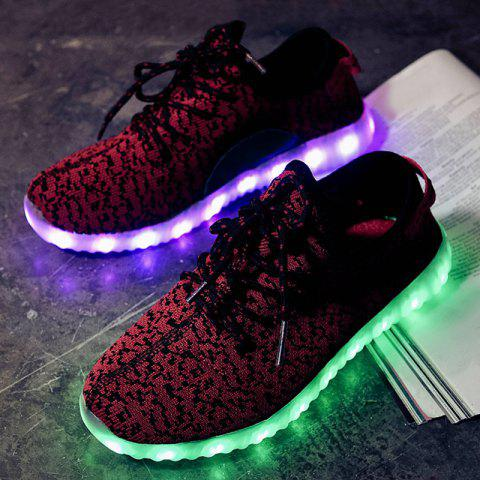 Store Led Luminous Mesh Athletic Shoes - 39 WINE RED Mobile