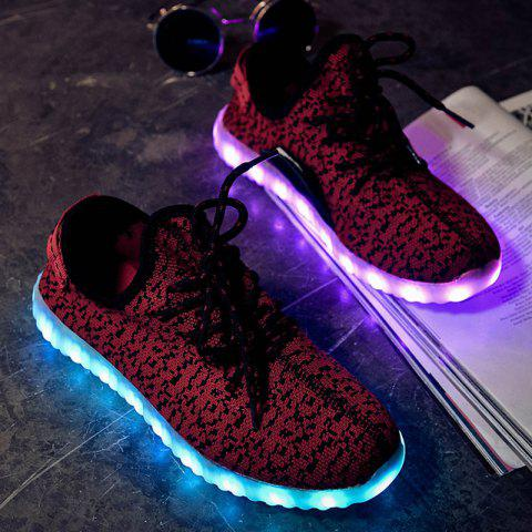 Sale Led Luminous Mesh Athletic Shoes - 40 WINE RED Mobile