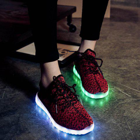 Discount Led Luminous Mesh Athletic Shoes - 40 WINE RED Mobile