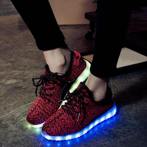Store Led Luminous Mesh Athletic Shoes - 40 WINE RED Mobile