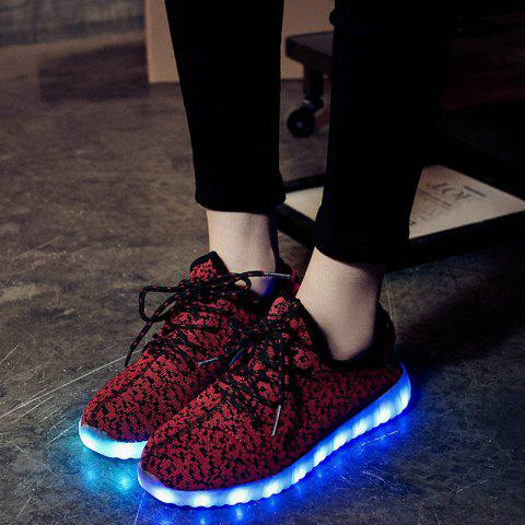New Led Luminous Mesh Athletic Shoes - 40 WINE RED Mobile