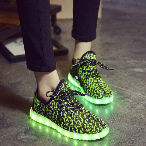 Buy Led Luminous Mesh Athletic Shoes - 40 GREEN Mobile