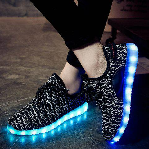 New Led Luminous Mesh Athletic Shoes - 37 WHITE AND BLACK Mobile