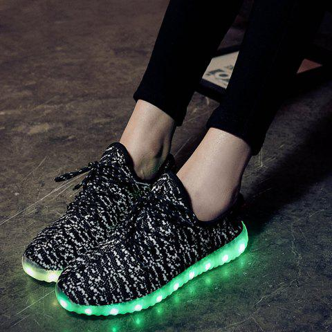 Outfits Led Luminous Mesh Athletic Shoes - 37 WHITE AND BLACK Mobile