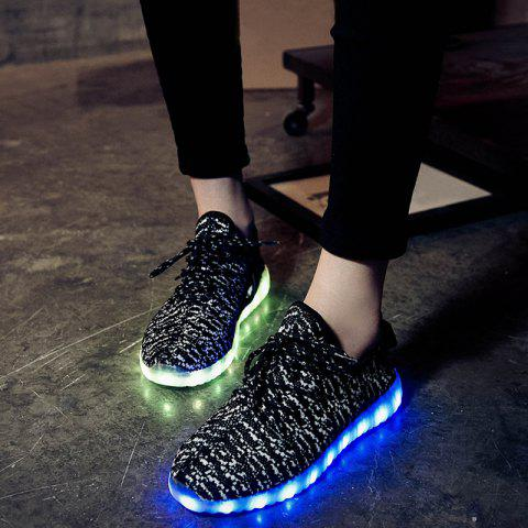 Online Led Luminous Mesh Athletic Shoes - 37 WHITE AND BLACK Mobile
