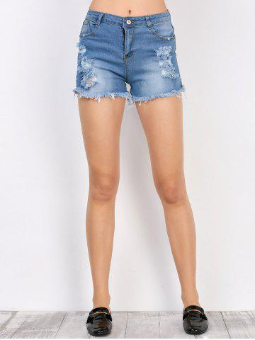 Online Frayed Denim High Rise Shorts with Pockets DEEP BLUE M