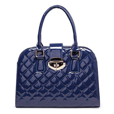 Fashion Quilted Metal Detail Patent Leather Handbag
