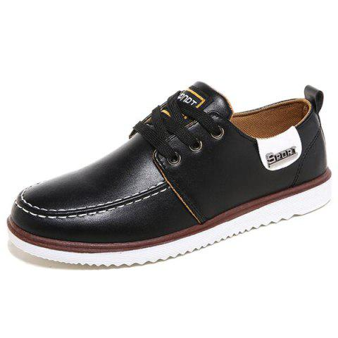 Tie Up Stitching Casual Shoes - Black - 42