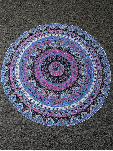 Chic Tiny Floral Round Pattern Beach Throw - ONE SIZE BLUE Mobile
