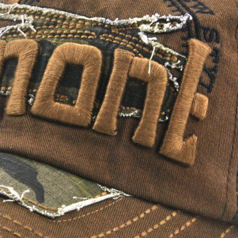 Outfits Camouflage Letters Embroidery Spliced Baseball Hat - COFFEE  Mobile