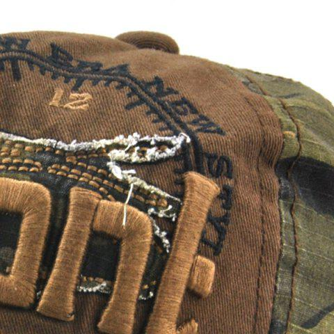 New Camouflage Letters Embroidery Spliced Baseball Hat - COFFEE  Mobile