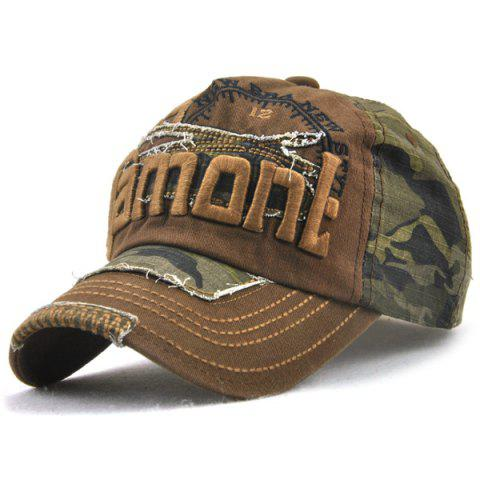 Online Camouflage Letters Embroidery Spliced Baseball Hat - COFFEE  Mobile