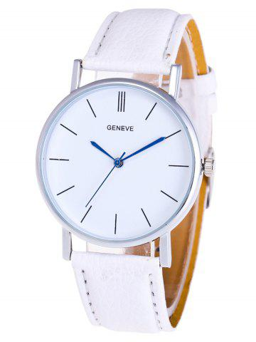 Sale Faux Leather Strap Analog Watch WHITE