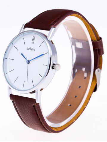 Store Faux Leather Strap Analog Watch - BROWN  Mobile