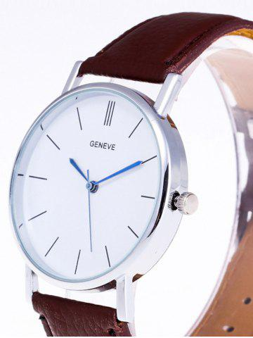 Hot Faux Leather Strap Analog Watch - BROWN  Mobile