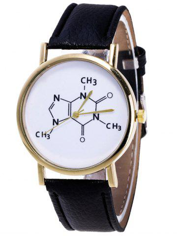 Shop Faux Leather Chemical Formula Analog Watch BLACK
