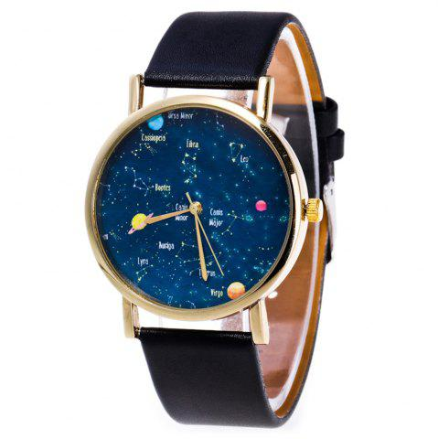 Latest Faux Leather Constellation Analog Watch BLACK