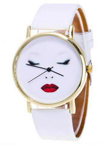 Trendy Beauty Face Faux Leather Analog Watch