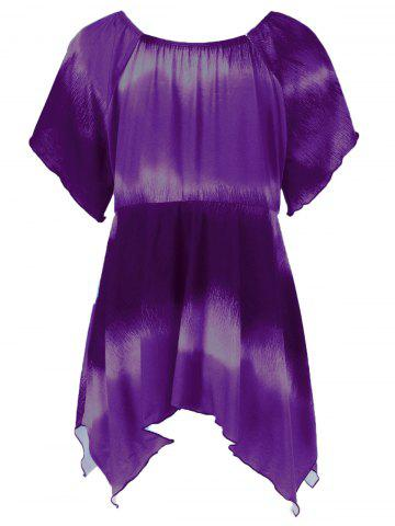 Discount Plus Size Empire Waist Butterfly Sleeve Blouse - 3XL PURPLE Mobile