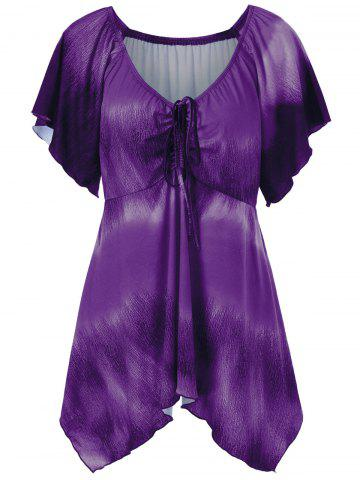 Affordable Plus Size Empire Waist Butterfly Sleeve Blouse - 5XL PURPLE Mobile