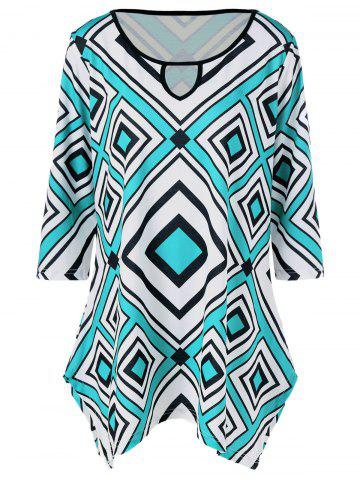 Plus Size Rhombus Print Keyhole Neck T-Shirt - Blue And White - Xl