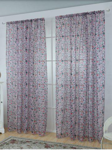 Multi Circle Embroidered Sheer Window Tulle Curtain - Blue Gray - 100*250cm