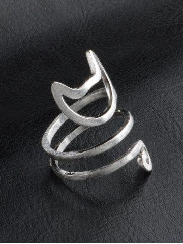 Sale Cute Kitten Finger Ring - ONE-SIZE SILVER Mobile