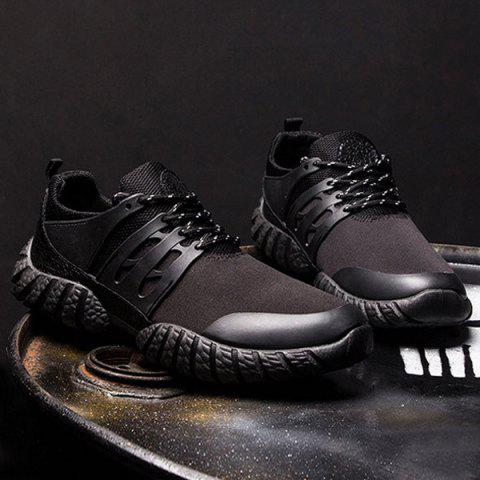 Shop Stitching PU Leather Athletic Shoes - 41 BLACK Mobile