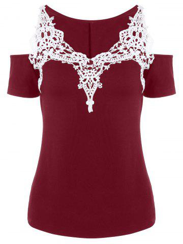 Cold Shoulder Crochet Trim T-Shirt - RED L