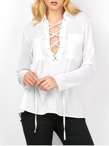 Trendy Semi Sheer Pockets Lace Up Blouse WHITE 2XL
