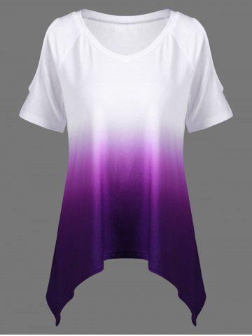 Cheap V Neck Ombre Open Shoulder Asymmetrical T-Shirt - XL COLORMIX Mobile