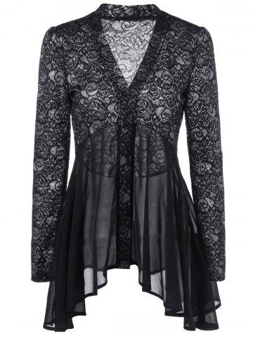 Store Button Up Floral Lace Blouse BLACK 2XL