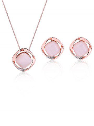 Faux Opal Gemstone Rhinestone Hollow Out Jewelry Set - Rose Gold