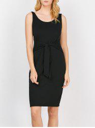 Scoop Neck Self-Tie Tank Bodycon Dress - BLACK
