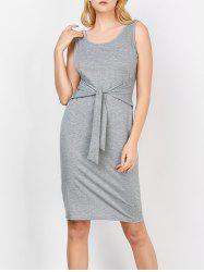 Scoop Neck Self-Tie Tank Bodycon Dress