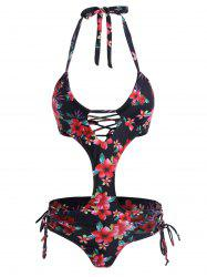 Floral Lace Up Halter Monokini