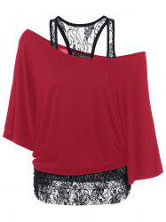 Skew Collar Lace Trim T-Shirt - RED M