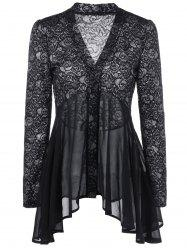 Button Up Floral Lace Blouse - BLACK L
