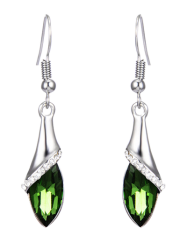 Faux Crystal Zircon Drop Earrings - GREEN