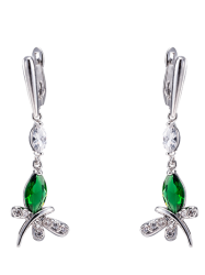 Pair of Butterfly Rhinestone Drop Earrings - GREEN