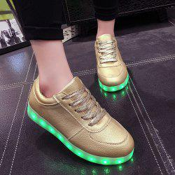 Led Luminous Metallic Color Athletic Shoes - GOLDEN